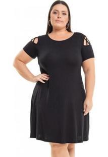 Vestido Beline Plus Size Viscolycra Com Transpasse De Tiras Miss Masy - Feminino-Preto