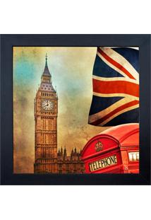 Quadro Em Madeira Com Vidro London 27X27Cm