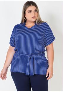 Blusa Bata Plus Size Azul Com Amarração