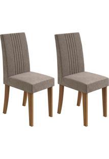Conjunto De Cadeiras De Jantar 2 Rock Veludo Imbuia E Cinza