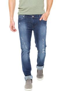 Calça Jeans Guess Skinny Desgastado Azul