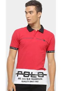 Camisa Polo Polo Rg 518 Estampada Masculina - Masculino-Vermelho