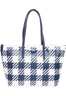 Bolsa Retangular Geométrica - Off White & Azul Marinho