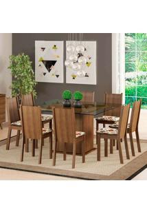 Conjunto De Mesa Com 8 Cadeiras Camila Rustic E Floral Hibiscos