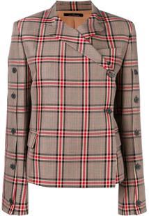 Rokh Checked Button Jacket - Marrom