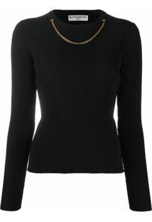 Givenchy Blusa De Tricô Canelado Com Detalhe De Corrente - Preto