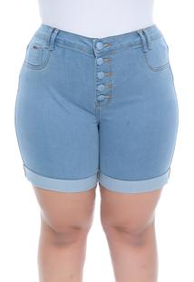 Shorts Jeans Plus Size Soft Jeans Light Blue Retrã´ - Azul - Feminino - Dafiti