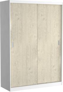 Guarda-Roupa Solteiro 2 Portas De Correr 100% Mdf 383 Branco/Marfim Areia - Foscarini