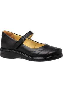 Sapatilha Feminina Em Couro Doctor Shoes - Feminino-Preto
