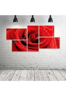 Quadro Decorativo - Red-Rose-Hd - Composto De 5 Quadros