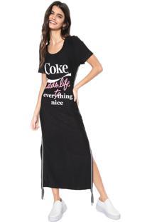 Vestido Coca-Cola Jeans Midi Fendas Preto