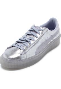 Kanui. Tênis Flatform Couro Puma Basket Platform Ns Wns Prata 0389b4b259444