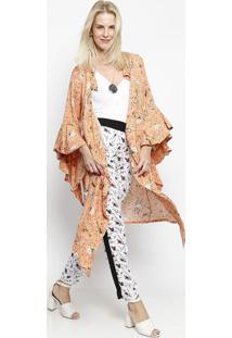Kimono Floral - Laranja & Verde- Linho Finolinho Fino