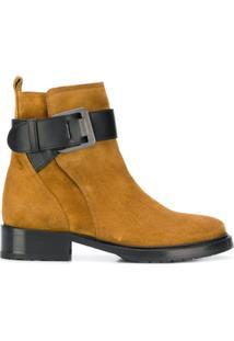 Lanvin Ankle Boot De Couro E Camurça - Marrom
