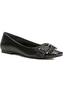 Sapatilha Couro Shoestock Bico Quadrado Fivela Feminina