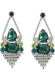 Brinco Pedra Cristal Tudo Joias Folheada A Ródio Com Zircônias - Feminino-Verde