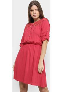 Vestido Only Fashion Curto Guipir - Feminino-Vermelho