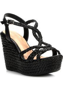 Sandália Plataforma Shoestock Corda Tranças Feminina - Feminino-Preto