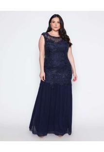 Vestido Almaria Plus Size Pianeta Longo Tule Borda