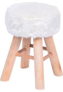 Puff Glamour- Branco & Bege- 40Xã˜28Cm- Or Designor Design