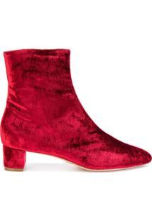Oscar Tiye Ankle Boot De Couro E Veludo - Vermelho