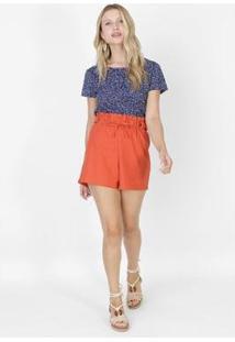 Camiseta Crepe Floral Azul Marinho - Feminino