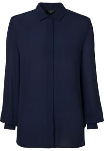 Camisa Le Lis Blanc Básica Lou Lou Azul Marinho Feminina (Dark Blue, 46)