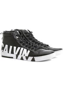 Sapatênis Couro Calvin Klein Alto Logo Sola Masculino - Masculino