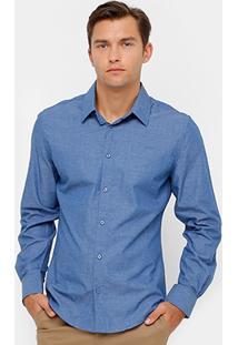 Camisa Social Colcci Tricoline Mesclado Masculina - Masculino