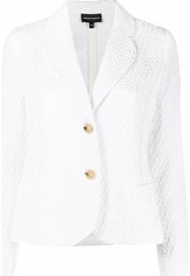 Emporio Armani Blazer Texturizado Com Abotoamento Simples - Branco