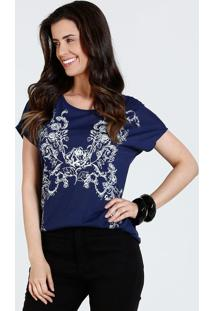 4c1698e62 Marisa. Blusa Jeans Com Pé Com Manga Curta Feminina Azul Floral Estampa  Marisa