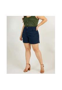 Short Plus Size Feminino Sarja Cintura Alta Marisa