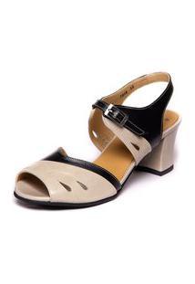 Sandalia Vintage Em Couro - Araca / Preto 7849