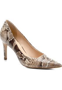 Scarpin Couro Shoestock Salto Alto Snake - Feminino-Cobra