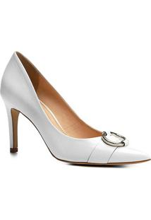 Scarpin Couro Shoestock Salto Alto Argola - Feminino-Branco