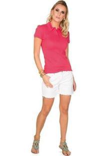 Camisa Polo Via Costeira Em Algodão Feminina - Feminino-Rosa