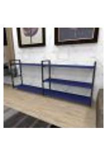 Aparador Industrial Aço Cor Preto 180X30X68Cm (C)X(L)X(A) Cor Mdf Azul Modelo Ind38Azapr