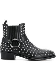 Alexander Mcqueen Ankle Boot De Couro Com Tachas - Preto