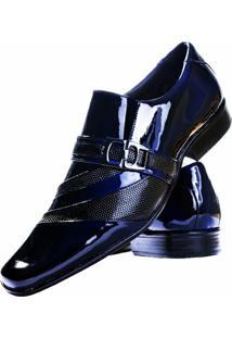 Sapato Social Gofer Estilo Italiano Couro - Masculino-Azul