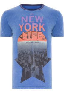 Camiseta Masculina Gola Contraste - Azul