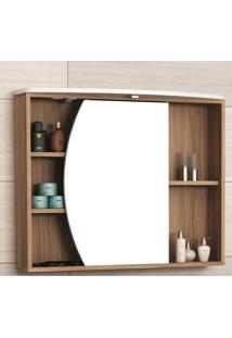 Espelheira Para Banheiro Com Led 1 Porta 4 Prateleiras E Nichos Duna Móveis Bosi Nogal/Branco