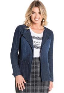 Blazer Rosalie Com Bolsos Jeans Azul Marinho