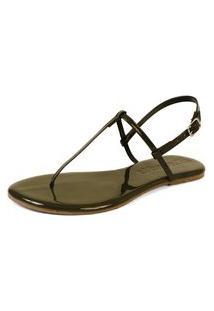 Sandália Rasteira Mercedita Shoes Verniz Verde Militar Ultra Macia