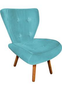 Poltrona Decorativa Tathy Suede Azul Tiffany Pés Palito - D'Rossi