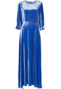 Deitas Vestido Longo De Veludo - Azul