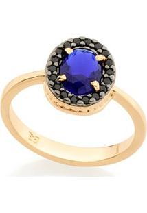 Anel Com Cristal Gota E Zircônias Negras Rommanel - Feminino-Azul