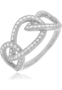 Anel Layla Cristal Di Capri Semi Jóias X Ouro Branco Prata - Kanui
