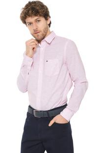 Camisa Tommy Hilfiger Slim Stripe Rosa/Branca