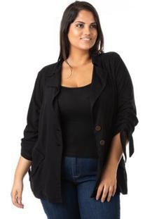 Blazer Alongado Em Linho Plus Size Confidencial Extra Feminina - Feminino-Preto