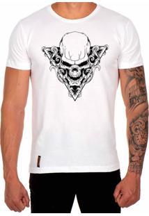 Camiseta Lucas Lunny T Shirt Estampada Caveira Triangulo Branco